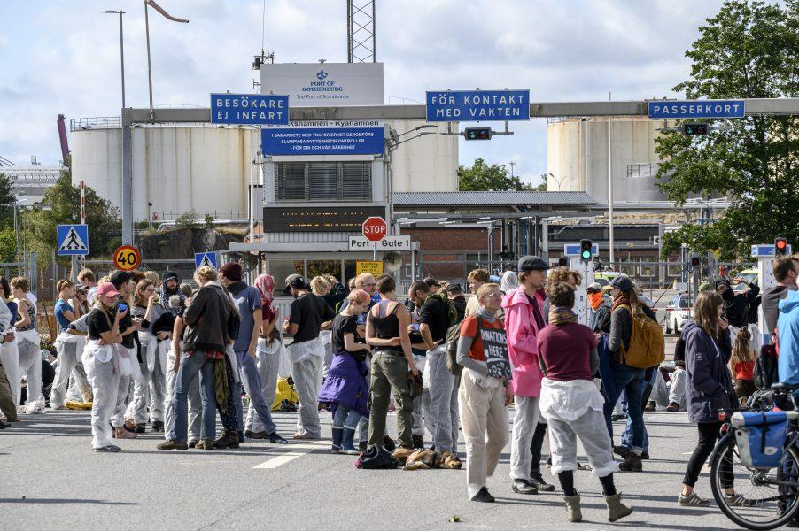 Demonstranter blockerade hamnen iGöteborgtidigare i höstas.
