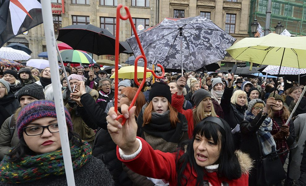 Tidigare protest mot vidare skärpning av Polens abortlagstiftning.