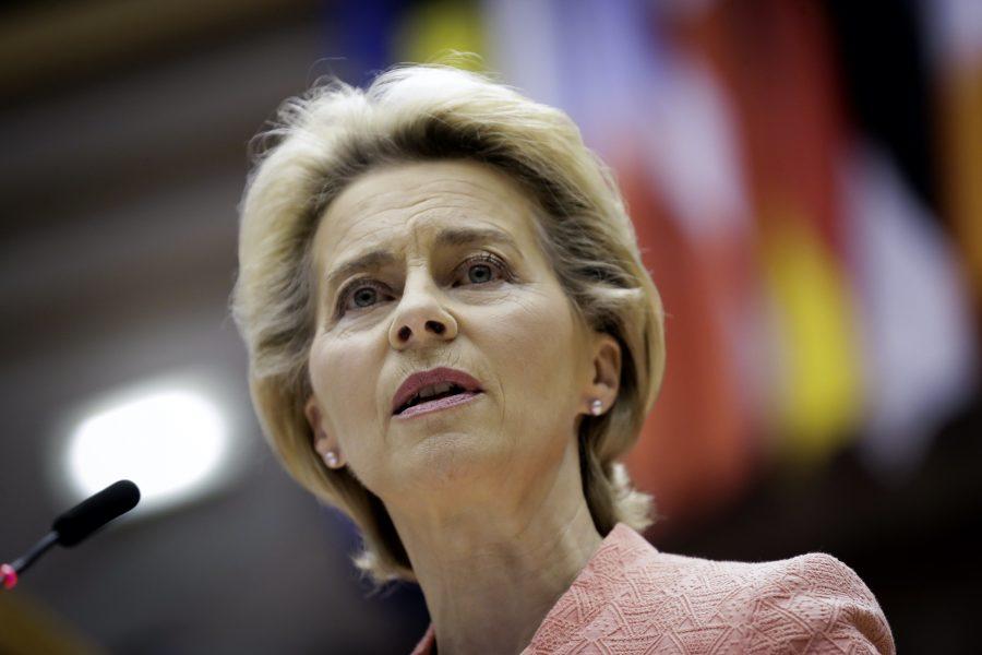 EU-komissionens ordförande Ursula von der Leyen höll sitt första linjetal i onsdags.