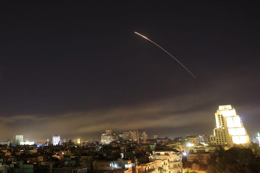 Robotregn över Syriens huvudstad.