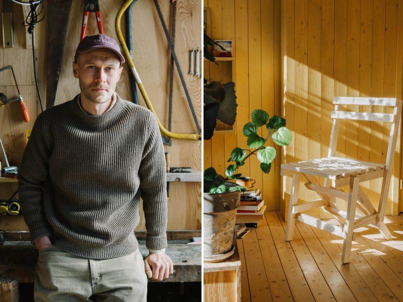 Författaren Erik Eje Almqvistoch stolen han byggt enligt formgivaren Enzo Maris principer.