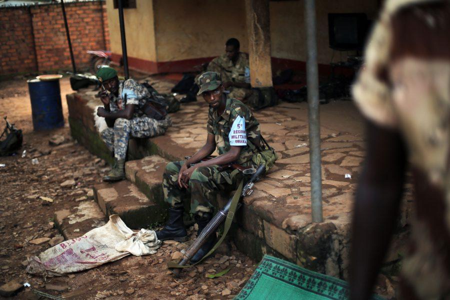 Rebellstyrkor i staden Bambari, som drabbats särskilt hårt av våldet.
